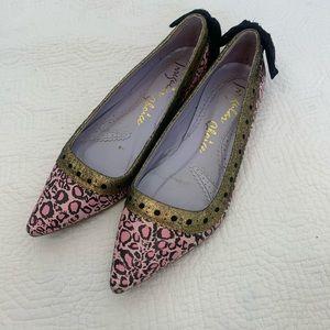 Irregular Choice pink pointy leopard flats size 39